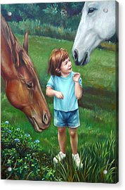 Acrylic Print featuring the painting Samantha Becomes An Equestrian by Nancy Tilles
