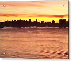 San Diego City Scape Sunrise Acrylic Print by Catherine Kurchinski