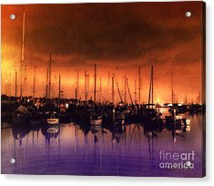 San Diego Harbor Midnight Moon Acrylic Print