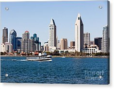 San Diego Skyline And Tour Boat Acrylic Print by Paul Velgos