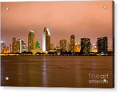 San Diego Skyline At Night Acrylic Print by Paul Velgos