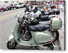 San Francisco - Scooters And Motorcycles Along Sansome Street - 5d17654 Acrylic Print by Wingsdomain Art and Photography