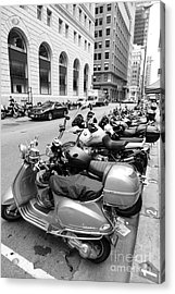 San Francisco - Scooters And Motorcycles Along Sansome Street - 5d17657 - Black And White Acrylic Print by Wingsdomain Art and Photography