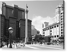 San Francisco - Union Square - 5d17933 - Black And White Acrylic Print by Wingsdomain Art and Photography