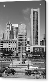 San Francisco - Union Square - 5d17941 - Black And White Acrylic Print by Wingsdomain Art and Photography