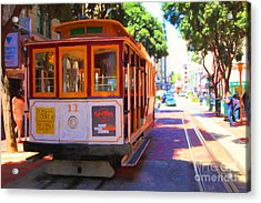 San Francisco Cable Car At The Powell Street Cable Car Turnaround - 5d17962 - Painterly Acrylic Print by Wingsdomain Art and Photography