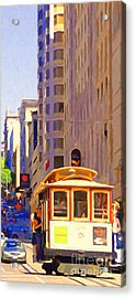 San Francisco Cable Car Coming Down Powell Street Acrylic Print by Wingsdomain Art and Photography