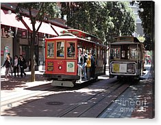 San Francisco Cable Cars At The Powell Street Cable Car Turnaround - 5d17959 Acrylic Print by Wingsdomain Art and Photography