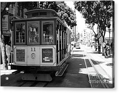 San Francisco Cable Cars At The Powell Street Cable Car Turnaround - 5d17962 - Black And White Acrylic Print by Wingsdomain Art and Photography