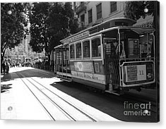 San Francisco Cable Cars At The Powell Street Cable Car Turnaround - 5d17963 - Black And White Acrylic Print by Wingsdomain Art and Photography