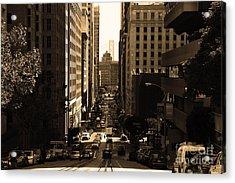 San Francisco California Street . Sepia . 7d7186 Acrylic Print by Wingsdomain Art and Photography