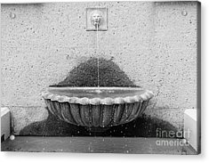San Francisco Crocker Galleria Roof Garden Fountain - 5d17894 - Black And White Acrylic Print by Wingsdomain Art and Photography