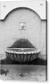 San Francisco Crocker Galleria Roof Garden Fountain - 5d17895 - Black And White Acrylic Print by Wingsdomain Art and Photography