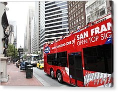 San Francisco Double Decker Tour Bus On Market Street - 5d17844 Acrylic Print by Wingsdomain Art and Photography