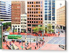 San Francisco Market Street - 5d17877 - Painterly Acrylic Print by Wingsdomain Art and Photography