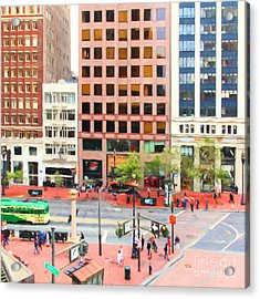 San Francisco Market Street - 5d17877 - Square - Painterly Acrylic Print by Wingsdomain Art and Photography
