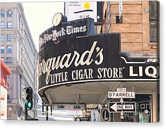 San Francisco Marquard's Little Cigar Store On Powell And O'farrell Streets - 5d17954 - Painterly Acrylic Print by Wingsdomain Art and Photography