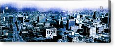San Francisco Skyline Panorama 1909 From The Ferry Building Through South Of Market . Blue Acrylic Print by Wingsdomain Art and Photography