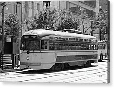 San Francisco Vintage Streetcar On Market Street - 5d17972 - Black And White Acrylic Print by Wingsdomain Art and Photography