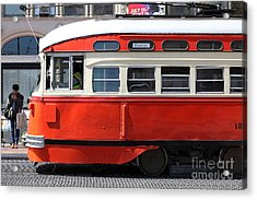 San Francisco Vintage Streetcar On Market Street - 5d18001 Acrylic Print by Wingsdomain Art and Photography