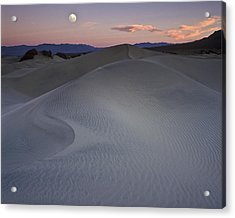 Sand Dune And Moon Death Valley Acrylic Print by Joe  Palermo
