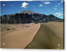 Sand Dunes With Mount Blanca Acrylic Print by John Brink