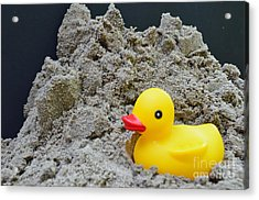 Sand Pile And Ducky Acrylic Print
