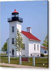 Acrylic Print featuring the photograph Sand Point Lighthouse In Escanaba Mi by Mark J Seefeldt