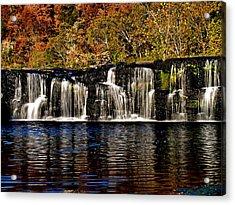 Sandstone Falls In Autumn Acrylic Print by Matthew Winn