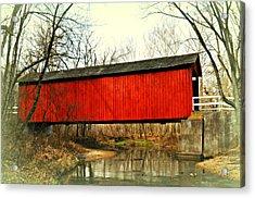Sandy Creek Bridge In Winter Acrylic Print by Marty Koch