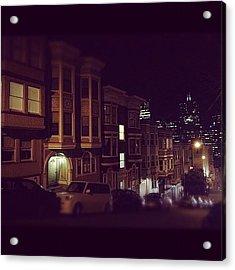 #sanfrancisco #night #victorian #city Acrylic Print