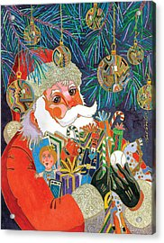 Santa And Gifts Acrylic Print by Bob Coonts
