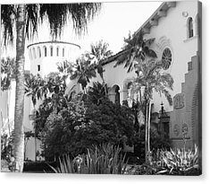 Acrylic Print featuring the photograph Santa Barbara Courthouse by Ann Johndro-Collins