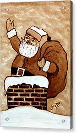 Santa Claus Gifts Original Coffee Painting Acrylic Print by Georgeta  Blanaru