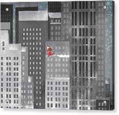 Santa Clause Running On A Skyscraper Acrylic Print by Jutta Kuss