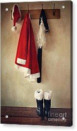 Santa Costume With Boots On Coathook Acrylic Print by Sandra Cunningham