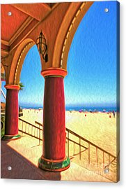 Santa Cruz Boardwalk - Beach Acrylic Print by Gregory Dyer