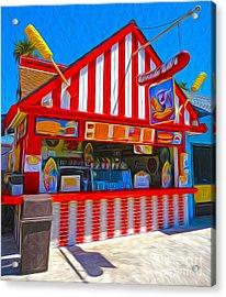 Santa Cruz Boardwalk - Hot Dog Stand Acrylic Print by Gregory Dyer