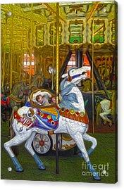 Santa Cruz Boardwalk Carousel Horse Acrylic Print by Gregory Dyer