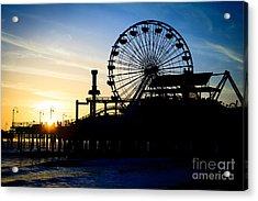 Santa Monica Pier Ferris Wheel Sunset Southern California Acrylic Print by Paul Velgos