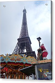 Santa Visits The Eiffel Tower Acrylic Print by Amelia Racca