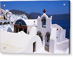 Santorini Architecture Acrylic Print by Paul Cowan