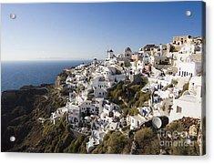 Acrylic Print featuring the photograph Santorini Cliff by Leslie Leda