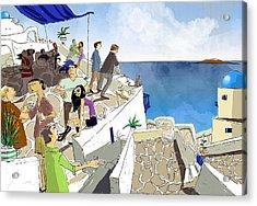 Santorini Rooftop  Acrylic Print by Sean Hagan
