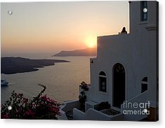 Santorini Sunset Acrylic Print by Leslie Leda