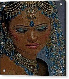 Saphire Goddess Acrylic Print by Liz Loz