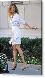 Sarah Jessica Parker Wearing A Halston Acrylic Print by Everett