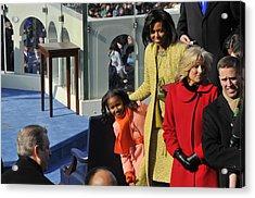 Sasha Obama Peeks Around Her Mother Acrylic Print