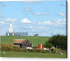 Acrylic Print featuring the mixed media Saskatchewan Farms Old And New by Bruce Ritchie