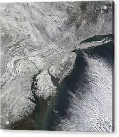 Satellite View Of A Noreaster Snow Acrylic Print by Stocktrek Images
